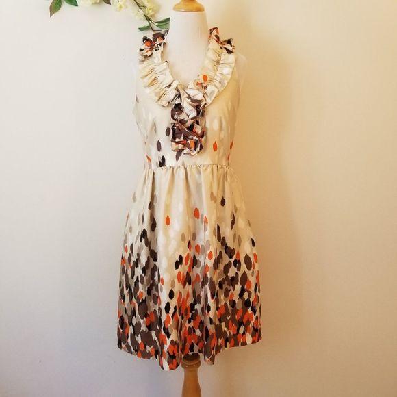 Kate Spade Lucille Champagne Print Silk Dress 8